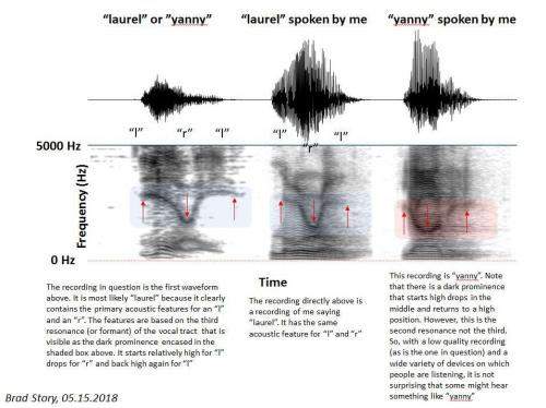 sound wave patterns of 3 pronunciations of the word yanny, or laurel